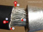 Einzeladern abgeschnitten (Klingenmesser)